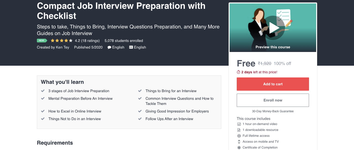 Compact Job Interview Preparation with Checklist