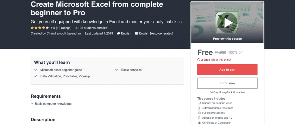 Create Microsoft Excel from complete beginner to Pro