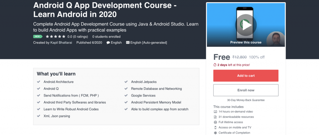 Android Q App Development Course - Learn Android in 2020