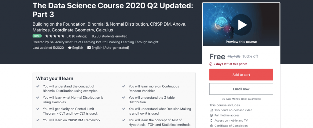 The Data Science Course 2020 Q2 Updated: Part 3