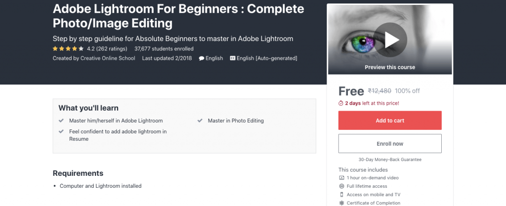 Adobe Lightroom For Beginners : Complete Photo/Image Editing