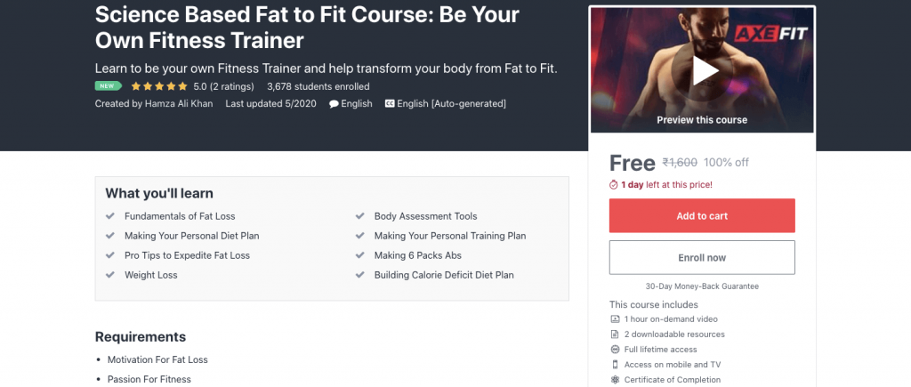 Science Based Fat to Fit Course: Be Your Own Fitness Trainer