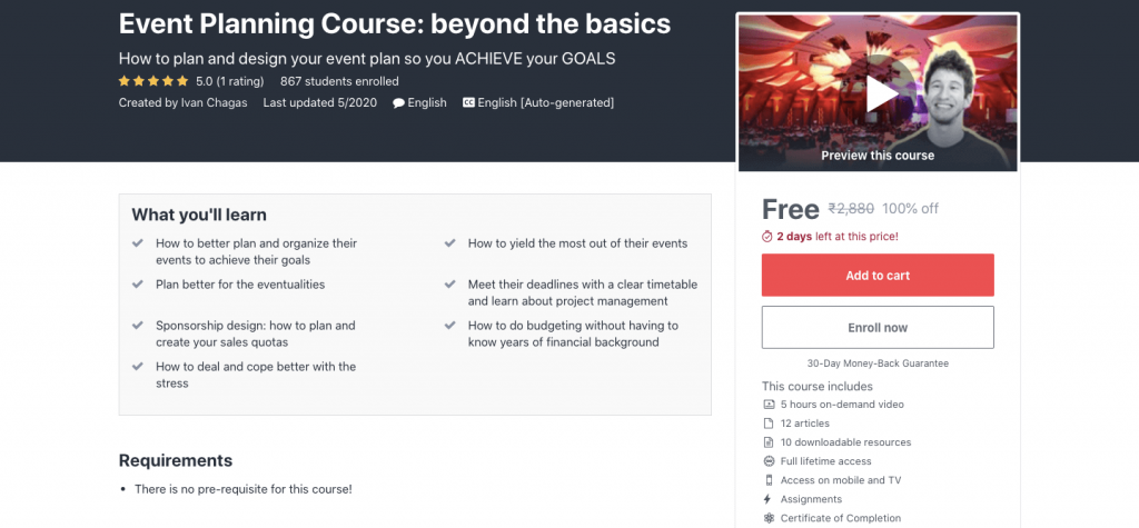 Event Planning Course: beyond the basics