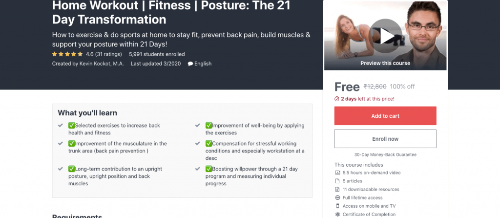 Home Workout | Fitness | Posture: The 21 Day Transformation