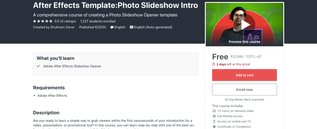 After Effects Template:Photo Slideshow Intro