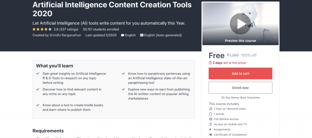 Artificial Intelligence Content Creation Tools 2020