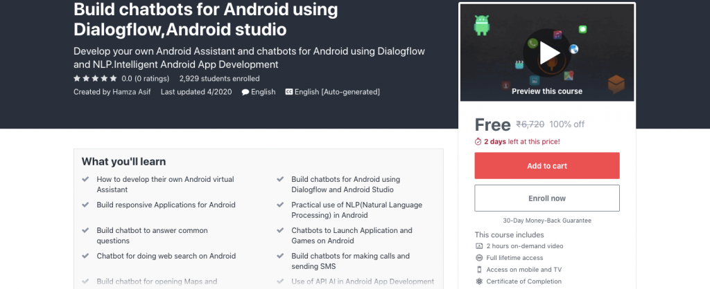 Build chatbots for Android using Dialogflow, Android studio