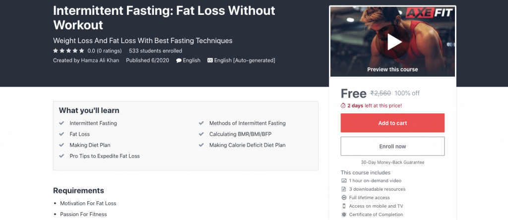 Intermittent Fasting: Fat Loss Without Workout