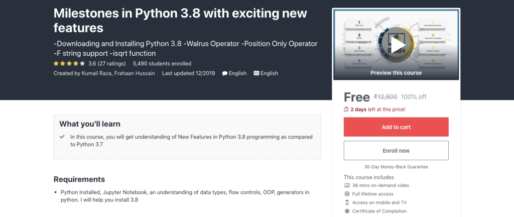Milestones in Python 3.8 with exciting new features