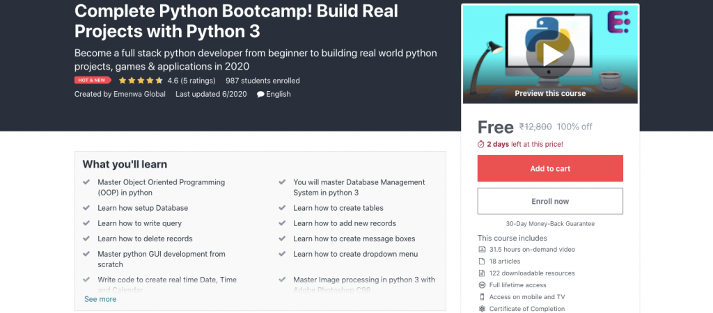 Complete Python Bootcamp! Build Real Projects with Python 3