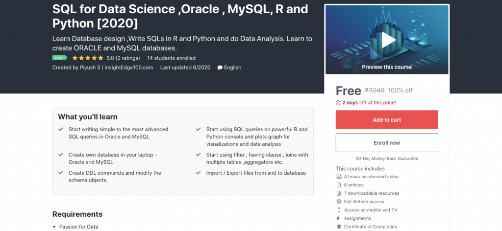 SQL for Data Science ,Oracle , MySQL, R and Python [2020]