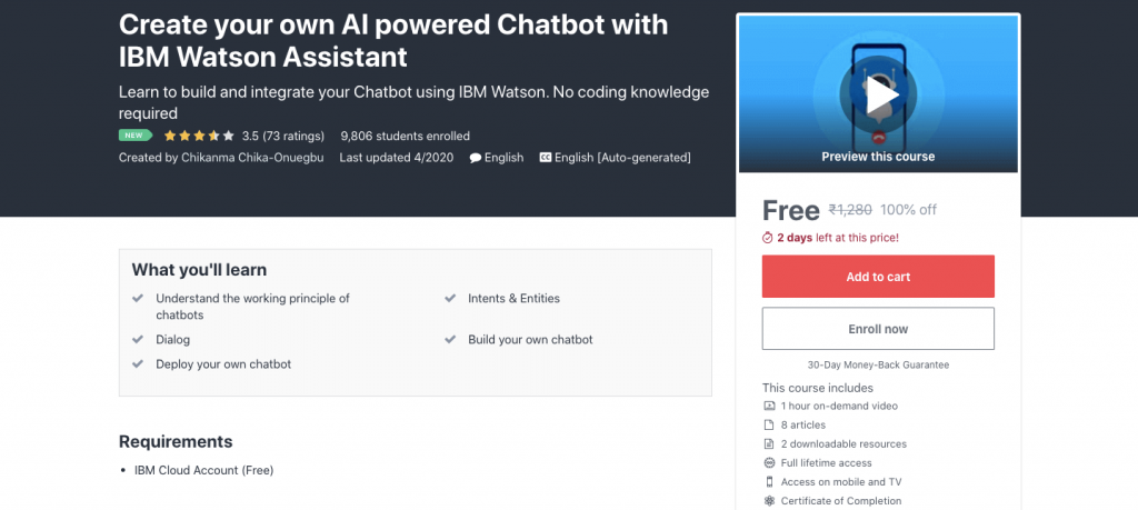 Create your own AI-powered Chatbot with IBM Watson Assistant