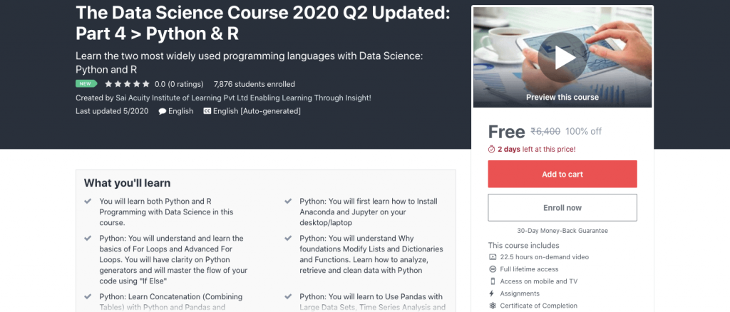 The Data Science Course 2020 Q2 Updated: Part 4 > Python & R