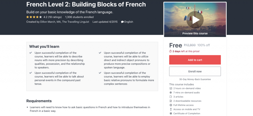 French Level 2: Building Blocks of French
