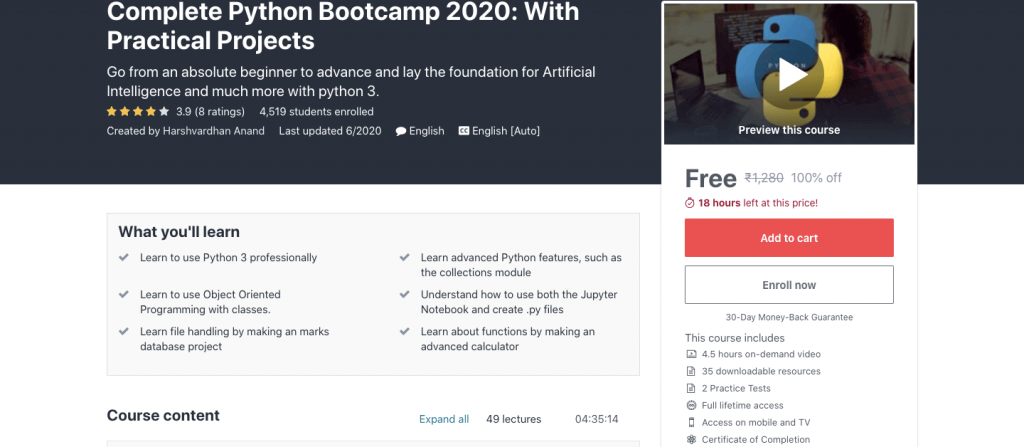 Complete Python Bootcamp 2020: With Practical Projects