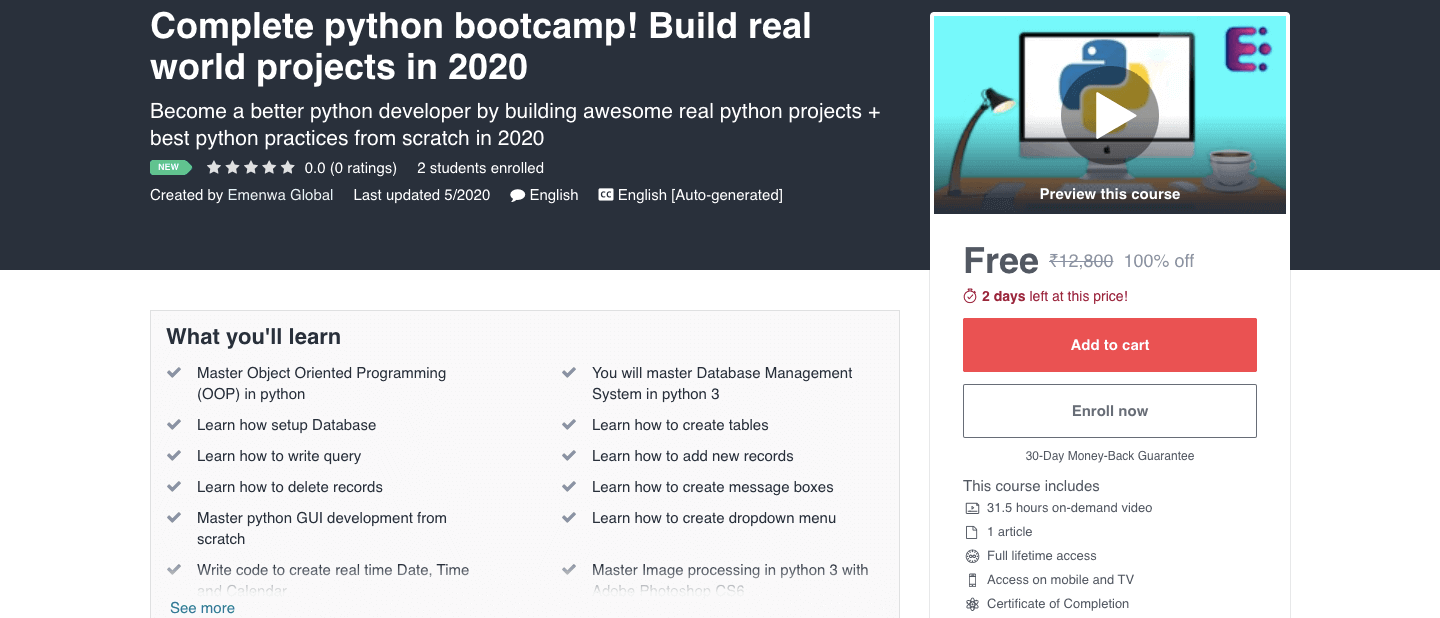 Complete python bootcamp! Build real world projects in 2020