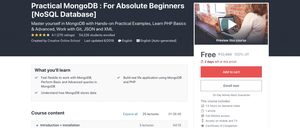 Practical MongoDB : For Absolute Beginners [NoSQL Database]