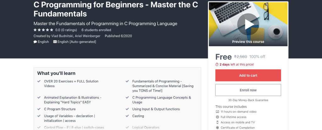 C Programming for Beginners - Master the C Fundamentals
