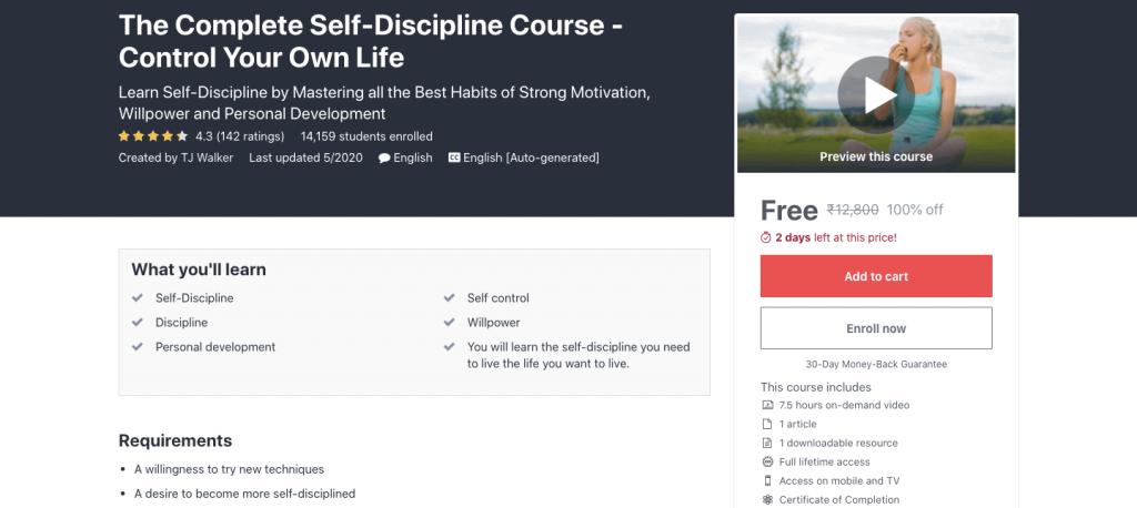 The Complete Self-Discipline Course - Control Your Own Life
