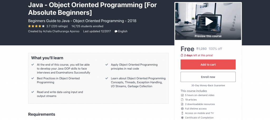 Java - Object Oriented Programming [For Absolute Beginners]