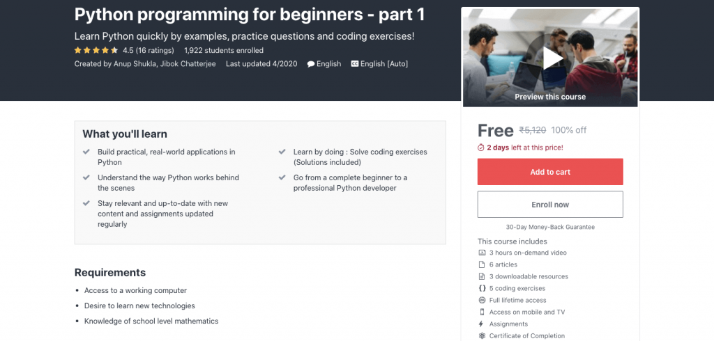 Python programming for beginners - part 1