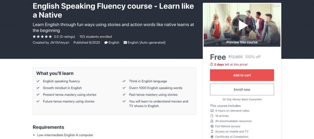 English Speaking Fluency course - Learn like a Native