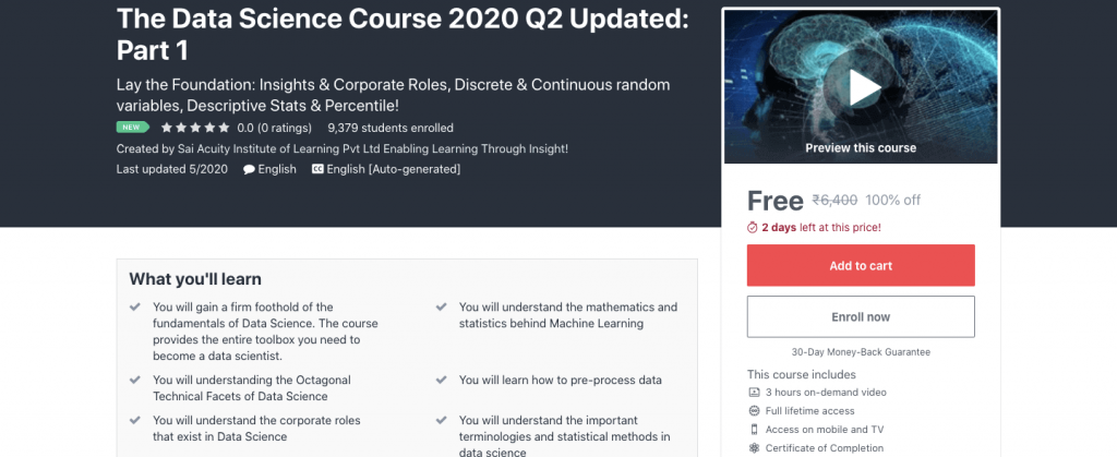 The Data Science Course 2020 Q2 Updated: Part 1