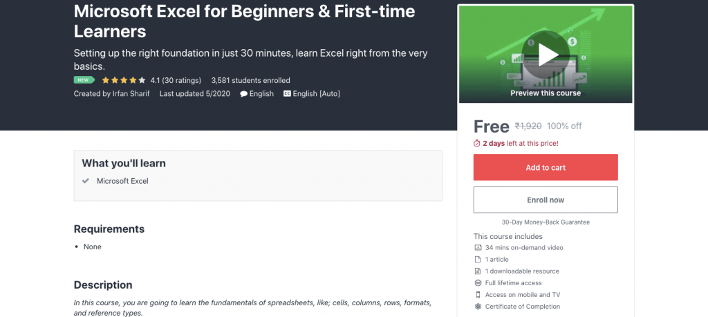 Microsoft Excel for Beginners & First-time Learners