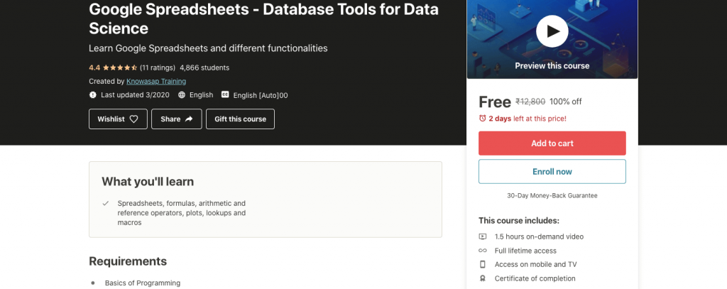 Google Spreadsheets - Database Tools for Data Science