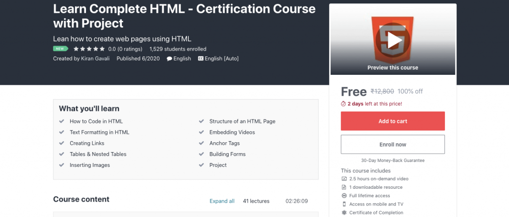 Learn Complete HTML - Certification Course with Project