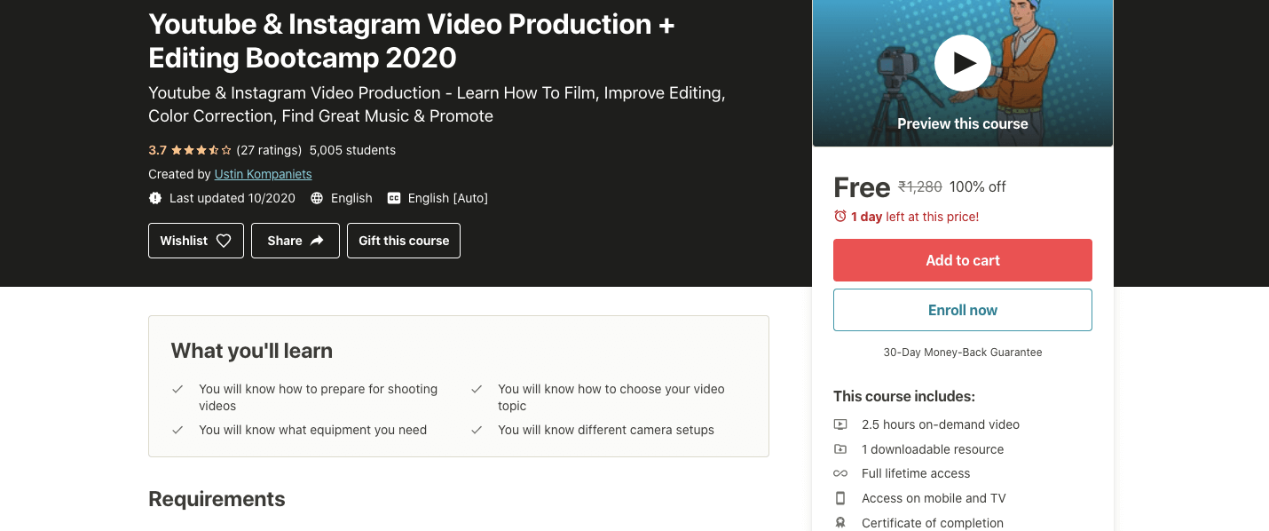 Youtube & Instagram Video Production + Editing Bootcamp 2020